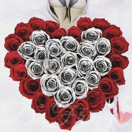 Rosas en Corazón Plata