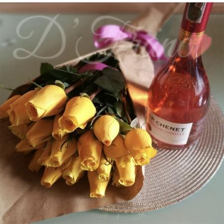 Bouquet de Rosas con vino