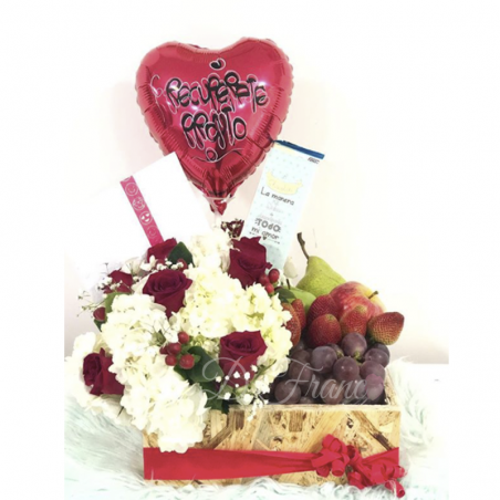 Caja de frutas con Flores Cali
