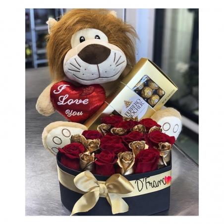 Caja Corazón Con rosas Doradas