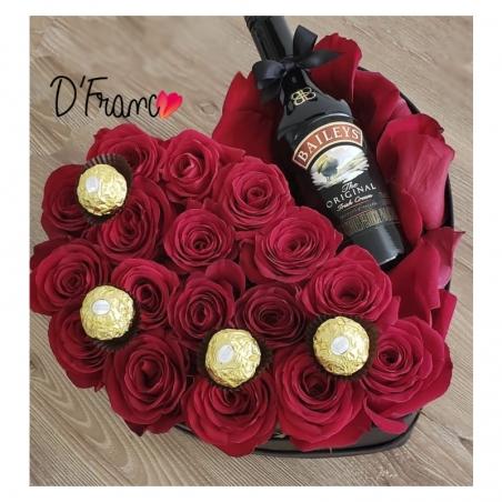 Corazón de Rosas Con Crema de Whisky Baileys