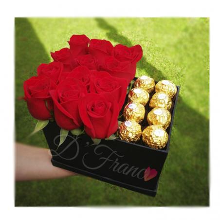 Caja De rosas con Ferrero