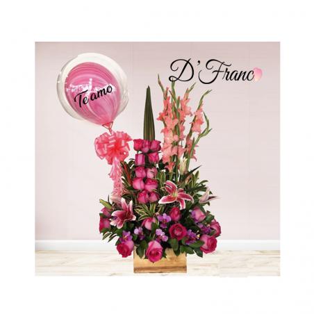 Arreglo Floral Con Globo Personalizado