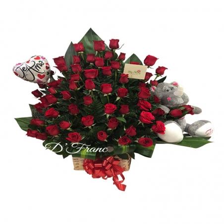 Rosas rojas Con Peluche
