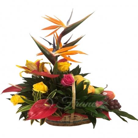 Canastica De Flores Y Frutas