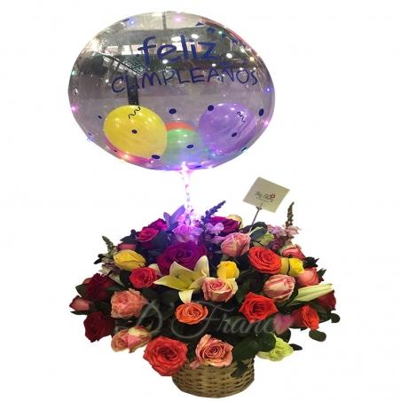 Canasta De Flores Con Globo Burbuja